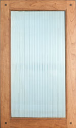 Reeded Glass door w/corner Pegs