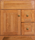Yorkshire Collection with Shaker2 Door style in Cherry-Golden Wood-Color. Standard Yorkshire Decorative Hardware shown.