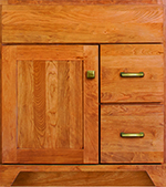 Zephyr Collection with Shaker2 Door style in Cherry-Golden Wood-Color. Standard Zephyr Decorative Hardware shown.