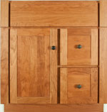 Tuscany Collection with Shaker Door style in Cherry-Golden Wood-Color. Standard Tuscany Decorative Hardware shown.